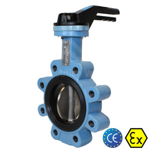 Lugged Pattern TTV Ductile Cast Iron Butterfly Valves Soft Seat Manual
